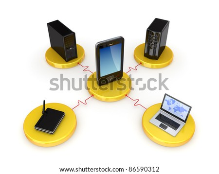 Network concept.Isolated on white background.3d rendered. - stock photo