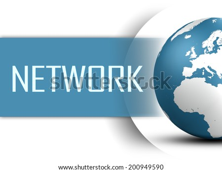 Network concept with globe on white background - stock photo