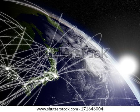 Network concept with sun rising over Japan viewed from space. Highly detailed planet surface with clouds and city lights. Elements of this image furnished by NASA. - stock photo