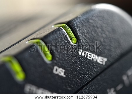 Network connection, DSL modem close up - stock photo