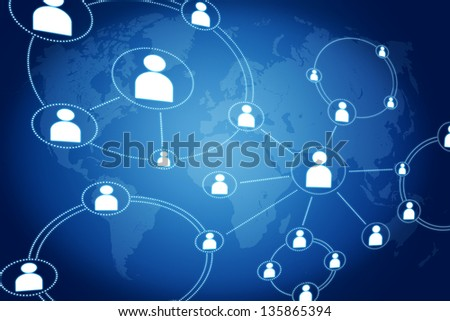 network connections concept on blue background with world map - stock photo