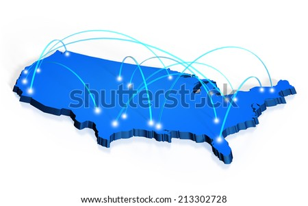 Network coverage map of United States - stock photo