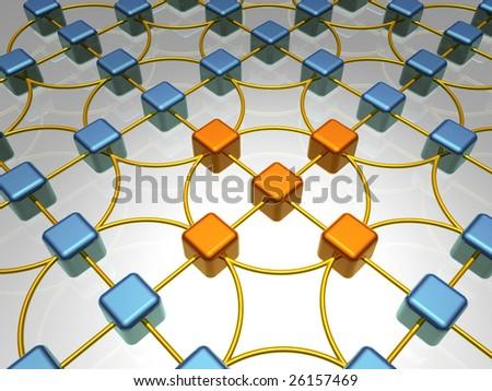 Network - 3D Illustration - stock photo
