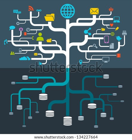 network file storage (Raster copy of vector) - stock photo