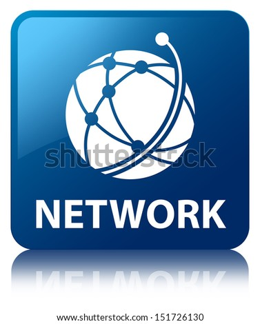 Network (global network icon) glossy blue reflected square button - stock photo