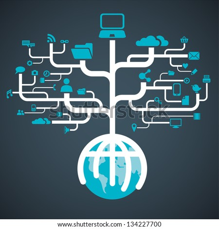 network globe media worldwide (Raster copy of vector) - stock photo