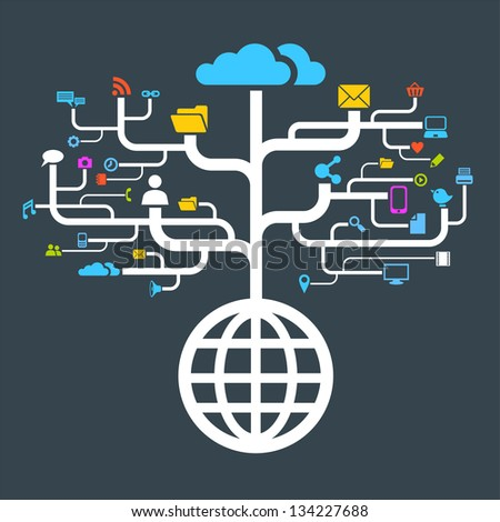 network globe social icons worldwide (Raster copy of vector) - stock photo