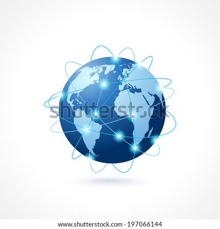 Network globe sphere earth map icon social media technology concept  illustration - stock photo
