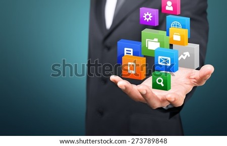 Network. Hand holding business diagram - stock photo
