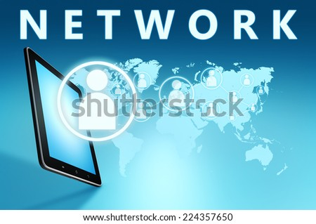 Network illustration with tablet computer on blue background