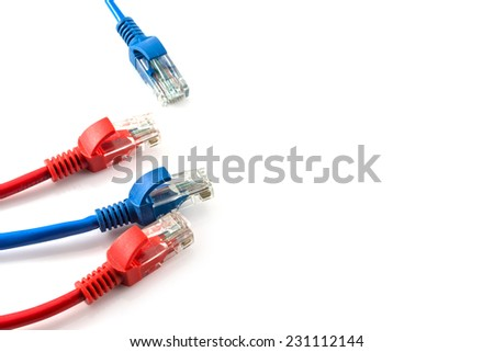Network internet cable isolated on white background - stock photo