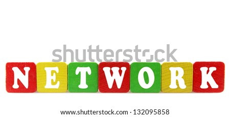 network - isolated text in wooden building blocks - stock photo