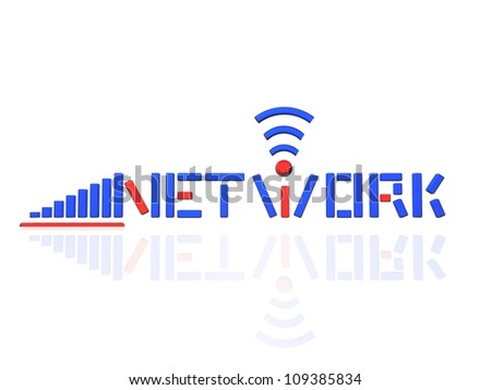 Network Logo Blue & red version,Isolated in white background - stock photo