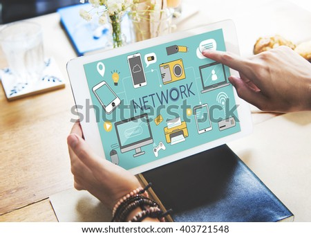 Network Networking Internet Social Media Concept - stock photo