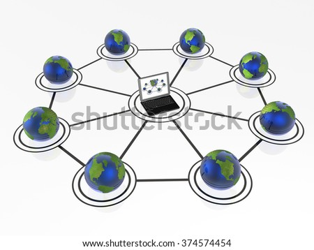 Network - notebook and globes on white background.