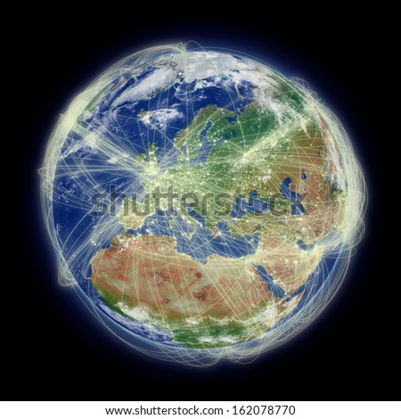 Network of flight paths over Europe on blue planet Earth isolated on black background. Highly detailed planet surface. Elements of this image furnished by NASA. - stock photo