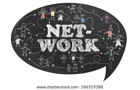 Network on Blackboard with Clipping Path and White Background - stock photo