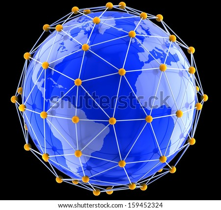 Network on globe. Earth map provided by NASA - stock photo