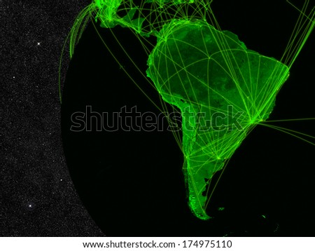 Network over South America. Information technology concept. Elements of this image furnished by NASA. - stock photo