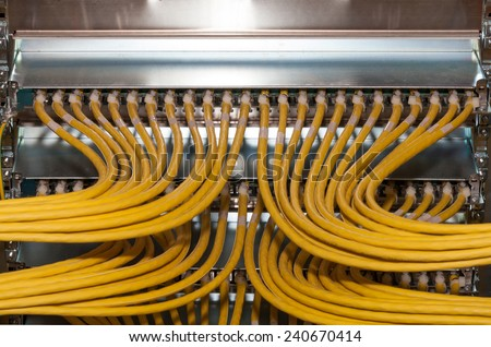 Network Patch Panel in a datacenter - stock photo