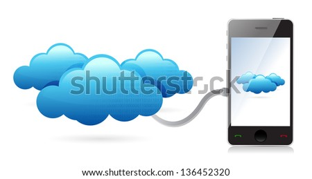 Network phone connecting with clouds illustration design over white