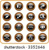 Network raster iconset. Vector version is available in my portfolio - stock photo
