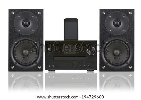 Network receiver system,digital usb, cd player and mp3 against white background - stock photo