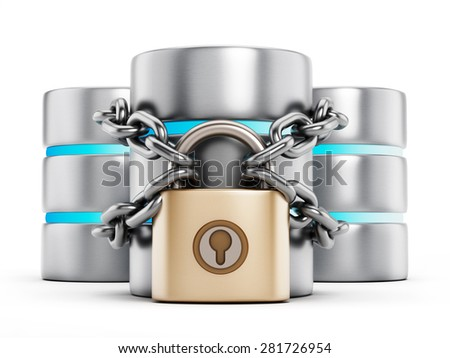 Network security concept, a padlock chained to the data storage server - stock photo