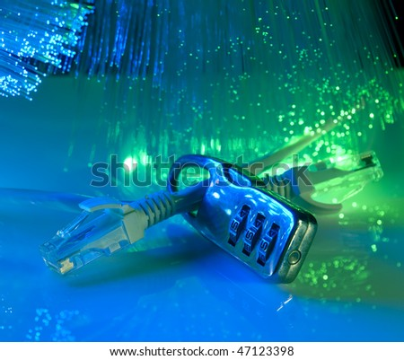 network security with fiber optical background - stock photo