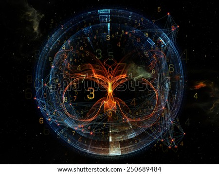 Network series. Visually pleasing composition of connected abstract elements to serve as  background in works on networking, science, education and modern technology - stock photo