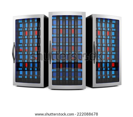 Network server racks isolated on white background. 3d rendering image - stock photo