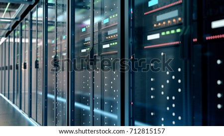 network server room with computers for digital tv ip communications and internet,3d rendering.