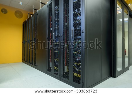 Network server room with internet computers