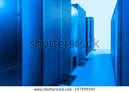 network server room with racks - stock photo