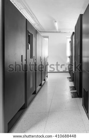 network server room with racks - stock photo