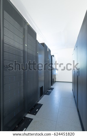 network server room with racks