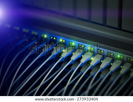 Network server switch with LED flashing, illustration - stock photo