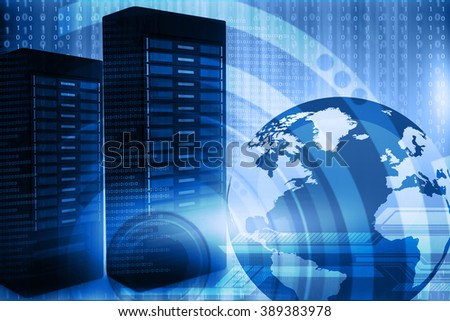 Network server with binary stream  - stock photo