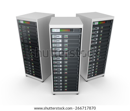 Network servers in data center isolated on white - stock photo