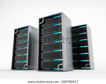 Network servers isolated on white