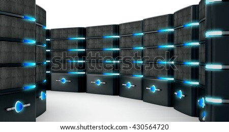 Network servers isolated on white background. 3D illustration. - stock photo