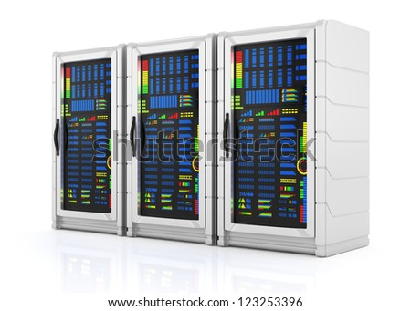 network servers racks isolated on white background. 3d rendered image