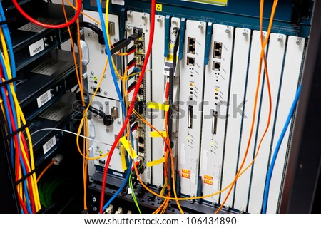 Network servers router in a data center. - stock photo