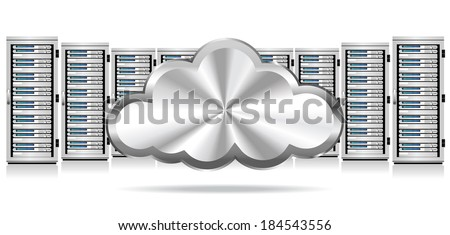 Network Servers with Cloud Icon - Information technology conceptual image - Raster Version
