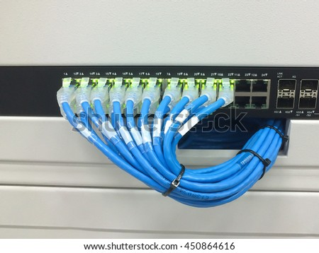 Network Switch Ethernet Cables Data Center Concept Stock Photo ...