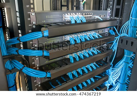 Network Switch Ethernet Cables Rack Cabinet Stock Photo (Download ...