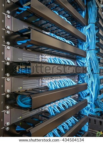 Network Switch Ethernet Cables Rack Cabinet Stock Photo 561155206 ...