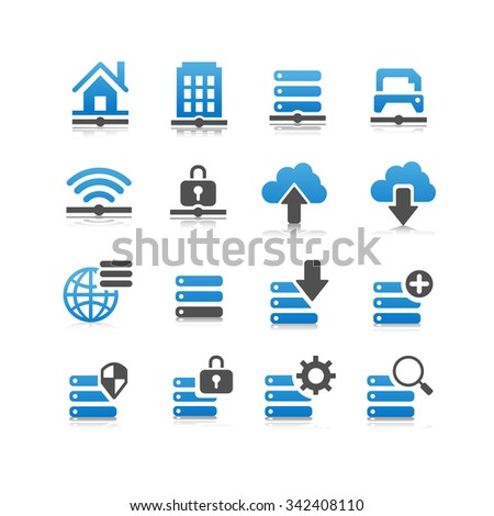 Network technology icon set - Flat Series - stock photo