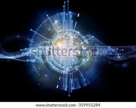 Network Unit  series. Abstract design made of network circuit, mechanical and fractal components on the subject of networking, computing and information technology - stock photo