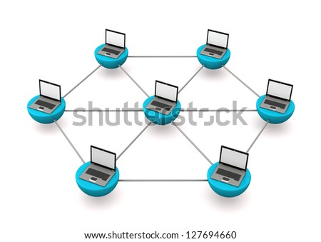 Network with laptops on the white background. - stock photo